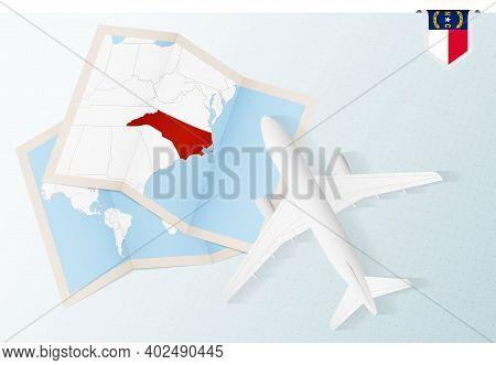Travel To North Carolina, Top View Airplane With Map And Flag Of North Carolina. Travel And Tourism