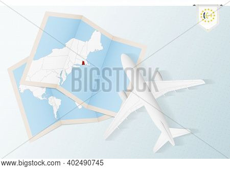 Travel To Rhode Island, Top View Airplane With Map And Flag Of Rhode Island. Travel And Tourism Bann