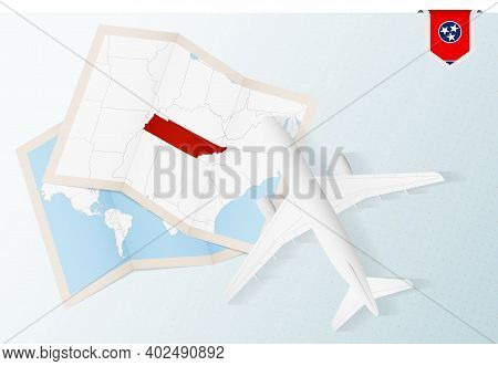 Travel To Tennessee, Top View Airplane With Map And Flag Of Tennessee. Travel And Tourism Banner Des