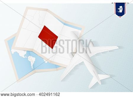 Travel To Wyoming, Top View Airplane With Map And Flag Of Wyoming. Travel And Tourism Banner Design.