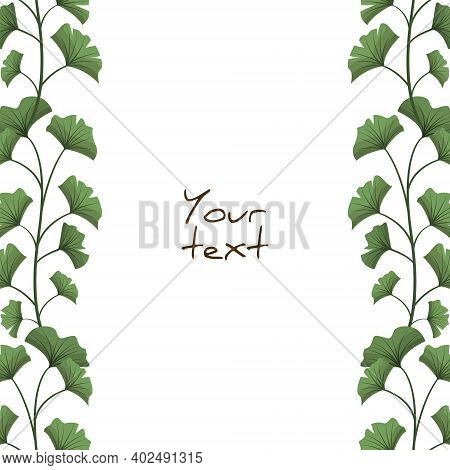Vector Background With Ginkgo Biloba; Vertical Floral Branches For Greeting Cards, Invitations, Post