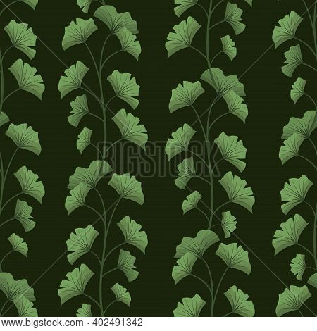 Vector Seamless Pattern With Vertical Ginkgo Biloba Branches On Dark Green Background; For Wrapping