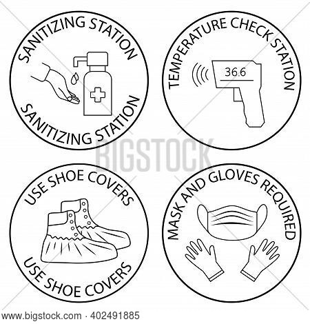Hand Sanitizing And Temperature Check Station. Shoe Covers. Mask, Gloves And Temperature Scanning Ar