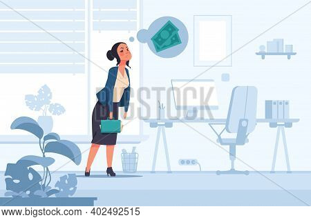 Financial Problem. Cartoon Unhappy Woman Thinking About Money. Anxious Tired Female With Economic Tr