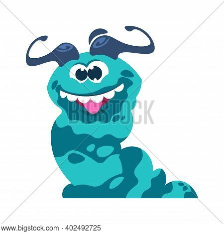 Cartoon Monster. Funny Slug. Crazy Smile Anthropomorphic Face, Tooth Mouth With Tongue Out. Horned H