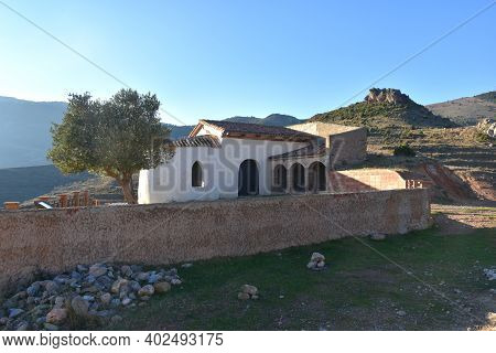 View Of The Hermitage Of Peñalba In The Village Of Arnedillo.hermitage Of Peñalba In The Mountains O