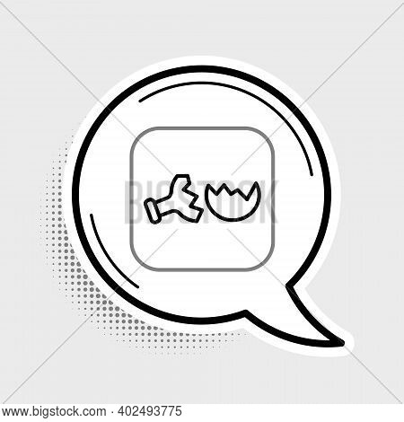 Line Broken Test Tube And Flask Chemical Laboratory Test Icon Isolated On Grey Background. Laborator