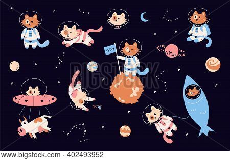 Space Cats. Cartoon Funny Kitties In Spacesuits With Helmets. Childish Astronaut Animals In Zero Gra