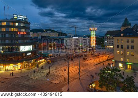 Oslo, Norway - August 10, 2016: View Of Central Station And Jernbanetorget Square At Dusk. This Stat