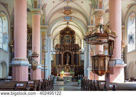 Beilstein, Germany - June 21, 2020: View Throught The Main Aisle Of The Carmelite Church Saint Josef