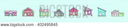 Set Of Shack Cartoon Icon Design Template With Various Models. Modern Vector Illustration Isolated O