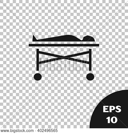 Black Dead Body In The Morgue Icon Isolated On Transparent Background. Vector