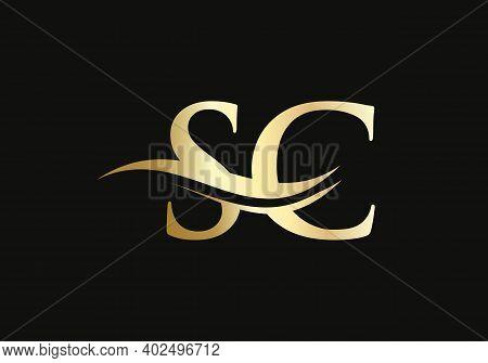 Initial Linked Letter Sc Logo Design. Modern Letter Sc Logo Design Vector With Modern Trendy