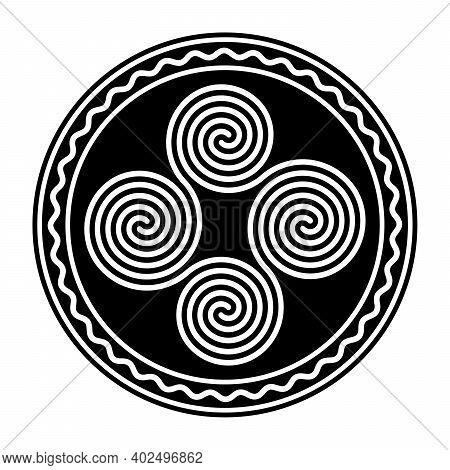 Four Connected Celtic Double Spirals, Within A Circle Frame With A White Wavy Line. Quadruple Spiral