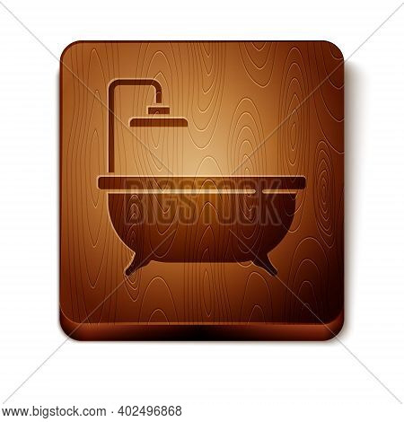 Brown Bathtub Icon Isolated On White Background. Wooden Square Button. Vector