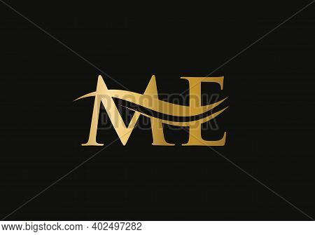 Premium Letter Me Logo Design With Water Wave Concept. Me Letter Logo Design With Modern Trendy