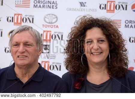 Giffoni Valle Piana, Sa, Italy - July 20, 2019 : Don Luigi Ciotti And Gianna Fracassi At Giffoni Fil
