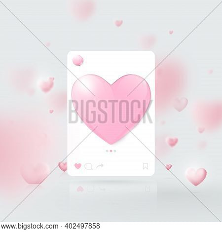 3d Mockup Of Social Media Interface. Social Network Photo Frame Template. Valentines Day. Vector Ill