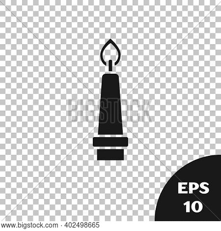 Black Burning Candle In Candlestick Icon Isolated On Transparent Background. Old Fashioned Lit Candl