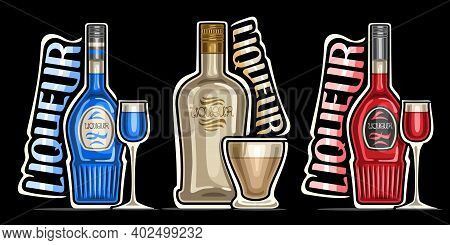 Vector Set Of Liqueurs, 3 Outline Illustrations Of Colorful Bottles With Decorative Labels And Full