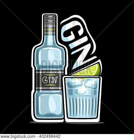 Vector Logo For Gin, Outline Illustration Of Blue Bottle With Decorative Label And Full Glass Of Chi