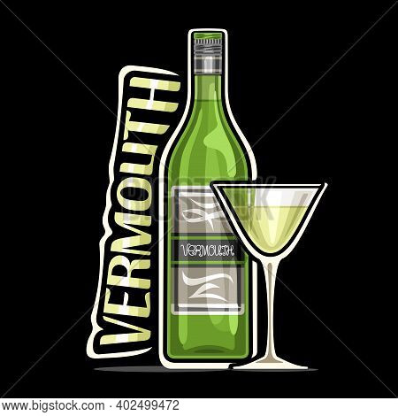 Vector Logo For Vermouth, Illustration Of Green Classic Bottle With Decorative Label And Full Cartoo