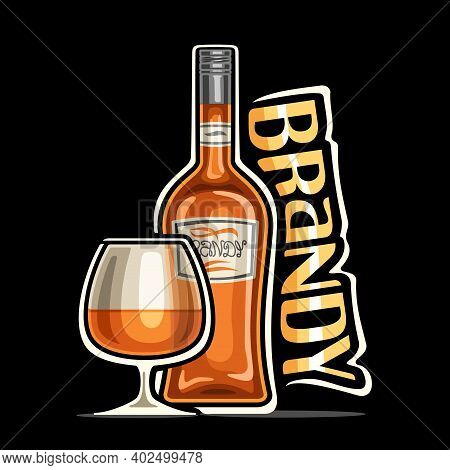 Vector Logo For Brandy, Outline Illustration Of Brown Bottle With Decorative Label And Half Full Sni