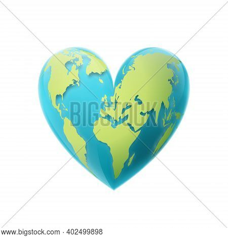 Valentines Day. The Earth In The Shape Of A Heart. 3d Vector Illustration