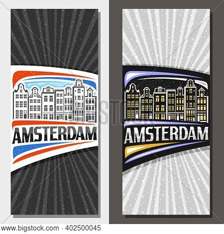 Vector Vertical Layouts For Amsterdam, Decorative Leaflet With Line Illustration Of Amsterdam City S