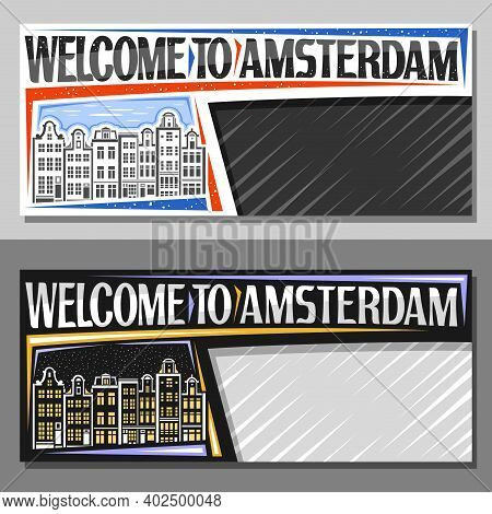 Vector Layouts For Amsterdam With Copy Space, Decorative Voucher With Outline Illustration Of Amster