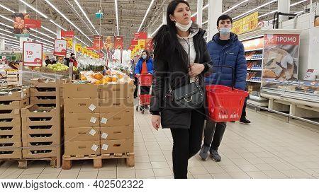 Russia, St. Petersburg 02.01.2021 Buyers Wearing Masks During The Coronavirus Epidemic In The Store