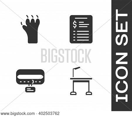 Set Pet Grooming Table, Paw Print, Collar With Name Tag And Grooming Salon Price List Icon. Vector