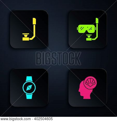 Set Scallop Sea Shell, Snorkel, Compass And Diving Mask And Snorkel. Black Square Button. Vector