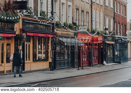 London, Uk - November 19, 2020: Row Of Closed Cafes And Restaurants In Covent Garden, A Famous Touri