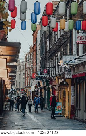 London, Uk - November 19, 2020: Few People Walk In Largely Empty Chinatown Area In London. Chinatown