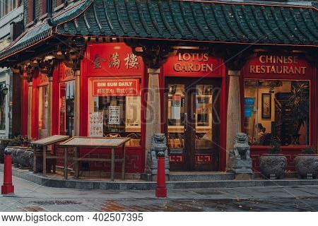 London, Uk - November 19, 2020: Exterior Of Closed Lotus Garden Restaurant In Chinatown, London. Chi