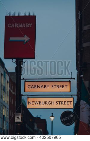London, Uk - November 19, 2020: Directional Sign To Newburgh Street And Carnaby Street In Soho, Lond