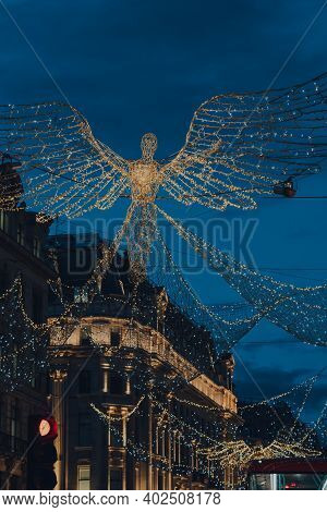 London, Uk - November 19, 2020: Angel Christmas Lights And Decorations On Regent Street, A Major Sho