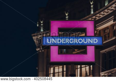 London, Uk - November 19, 2020: Playstation Themed Square Underground Sign Outside Oxford Circus Und
