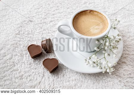 Morning Cup Of Strong Espresso Coffee With Heart-shaped Chocolates Served In Bed. Valentine's Day Ce