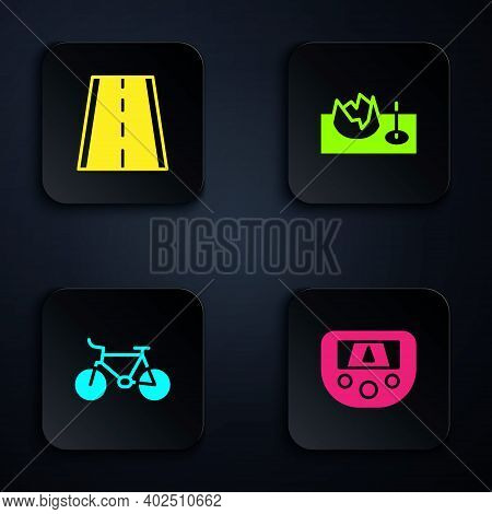 Set Gps Device With Map, Bicycle Lane, And On Street Ramp. Black Square Button. Vector