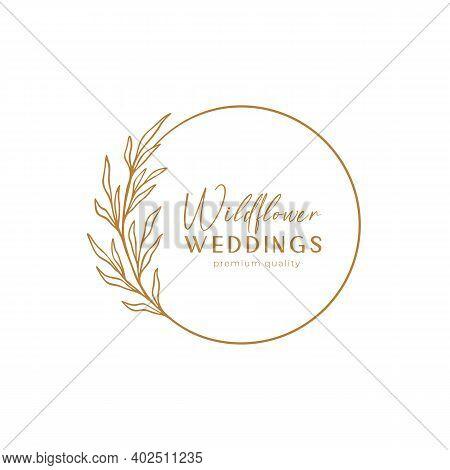 Floral Eucalyptus Label For Package. Floral Frame Linear Logo Sketch. Floral Wreath Emblem Wedding D