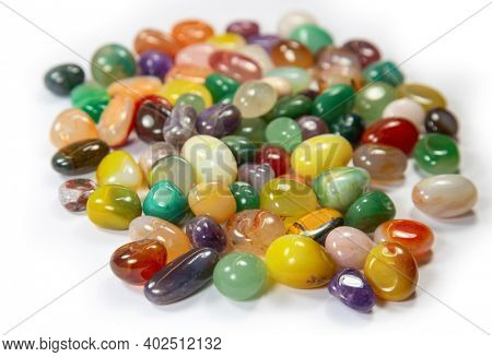 Collection of the semi precious stones on the white background