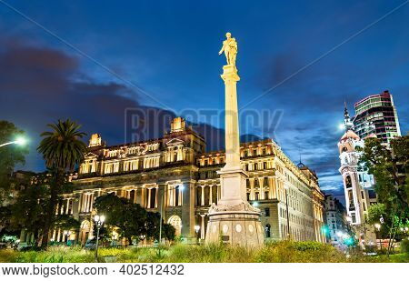 Monument To Juan Lavalle And Palace Of Justice In Buenos Aires, The Capital Of Argentina