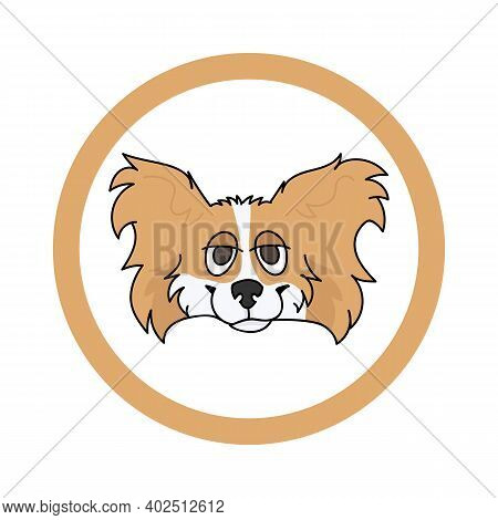 Cute Cartoon Papillon Face In Circle Dog Vector Clipart. Pedigree Kennel Doggie Breed For Kennel Clu