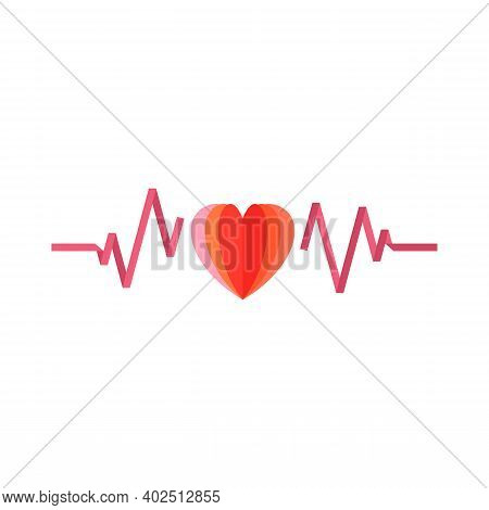 Heart Beat Pulse Flat Icon For Medical Applications And Websites. Heart Beat Pulse Icon. Heart Beat