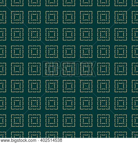 Vector Geometric Seamless Pattern With Squares, Lines, Grid, Tiles. Abstract Green And Gold Texture.