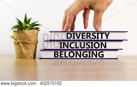 Diversity, Equality And Inclusion Symbol. Books With Words 'diversity, Equality And Inclusion' On Be