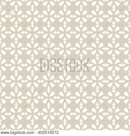 Golden Vector Geometric Seamless Pattern. Elegant Ornament Texture With Small Flower Silhouettes. Ab