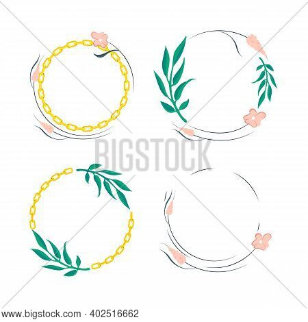 Set Of Flowers Leaves Round Border Frame With Gold Chain. Seamless Wreath Circle Shape. Wreath Flora